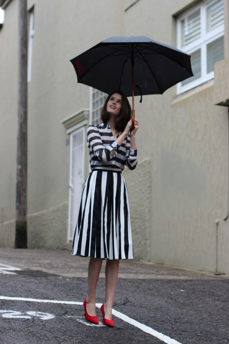 BYCHILL Chloe Hill IN Monochrome Stripes, Next UK Shirt, Asos Skirt, and Miu Miu Suede Heels