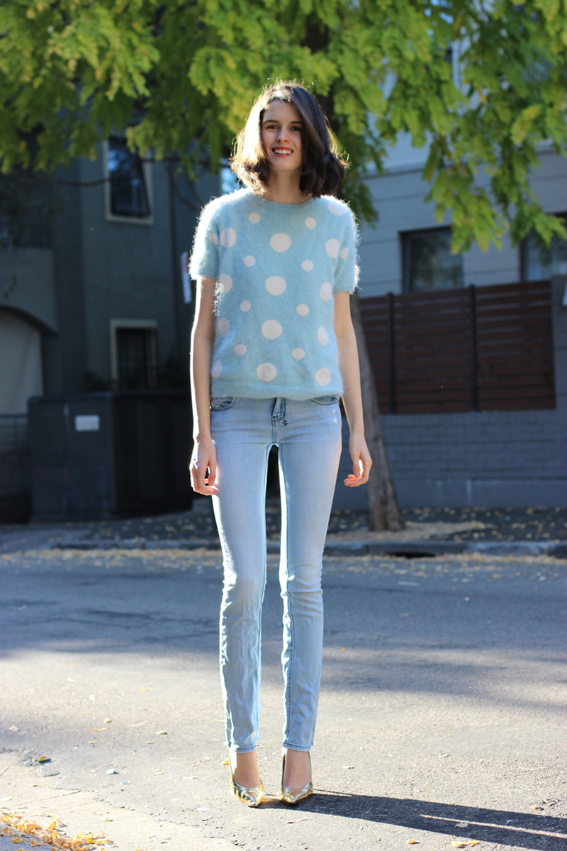 BYCHILL Chloe Hill In Karen Walker Polka Dot jumper, Ksubi Jeans and Manolo Blahnik Gold heels
