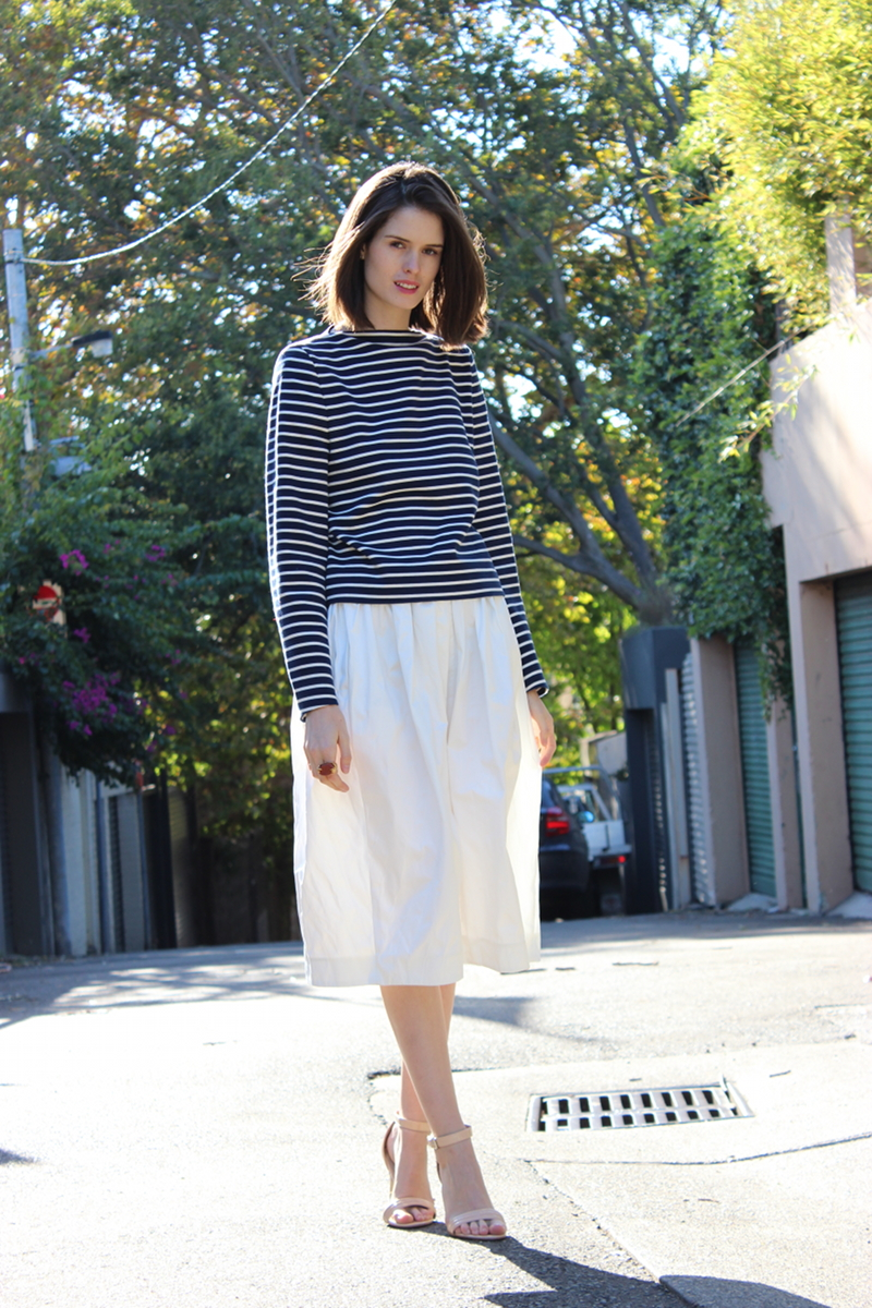 BYCHILL Chloe Hill In Masion Martin Margiela Breton Stripes Top, Senso Patent Nude heels and Topshop Boutique white midi skirt