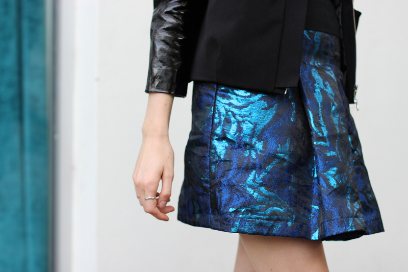 BYCHILL Chloe Hill in Emma Mulholland Blue brocade Skirt