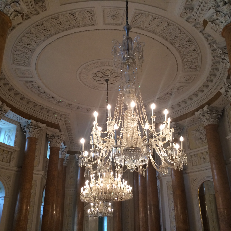 BY CHILL TRAVEL chandeliers and interior at Pawlowice Palace in Poland