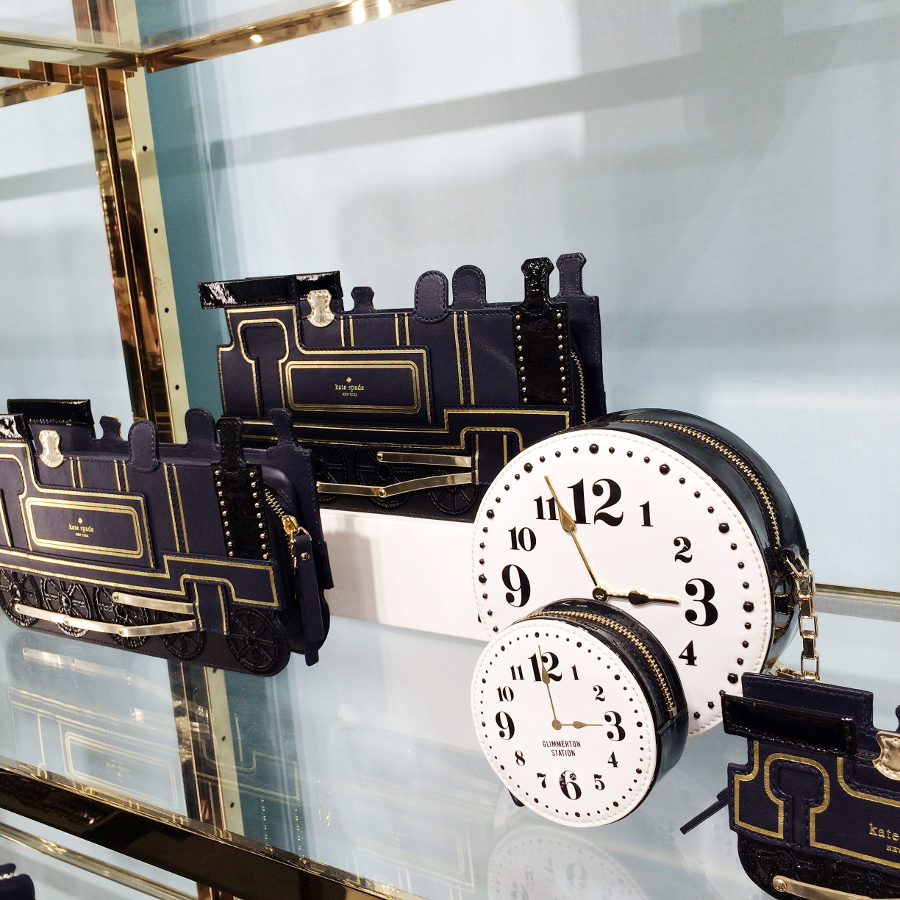 BY CHILL SYDNEY STYLE BLOG Train and clock clutches at Kate Spade NY's Westfield Sydney store