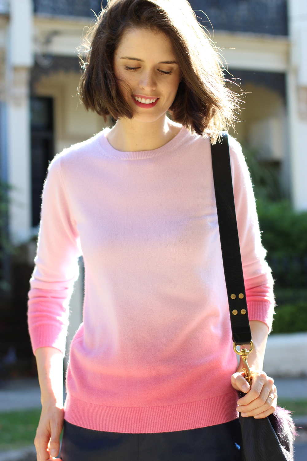 BY CHILL BLOG Boden UK pink ombre cashmere jumper, antipodium london navy mini skirt and miu miu blue heels