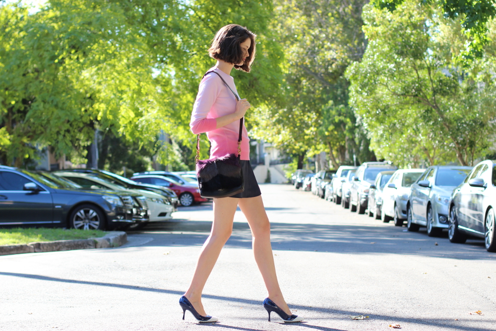 BY CHILL BLOG Boden clothing pink ombre cashmere jumper, antipodium london navy mini skirt and miu miu blue heels on the streets of sydney