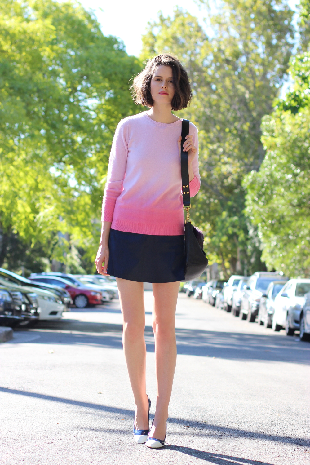 BY CHILL BLOG Boden clothing pink ombre cashmere jumper, antipodium london navy mini skirt and miu miu blue heels