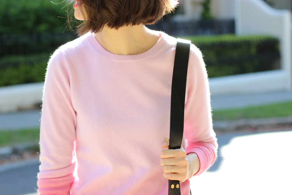 BY CHILL Chloe Hill wearing Boden clothing pink cashmere sweater