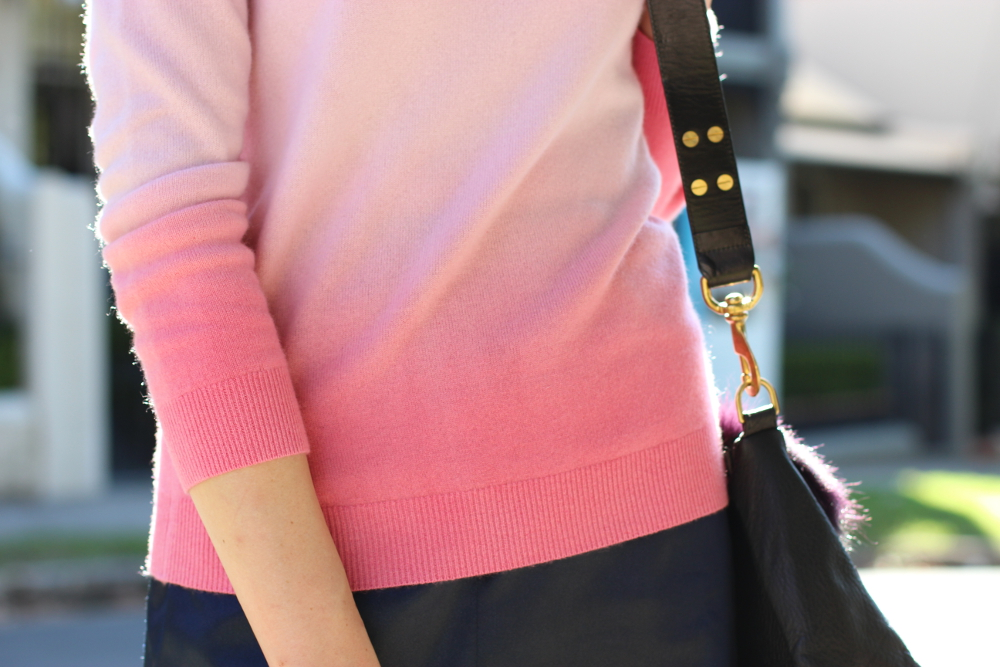 BY CHILL Chloe Hill wears Boden clothing pink cashmere sweater