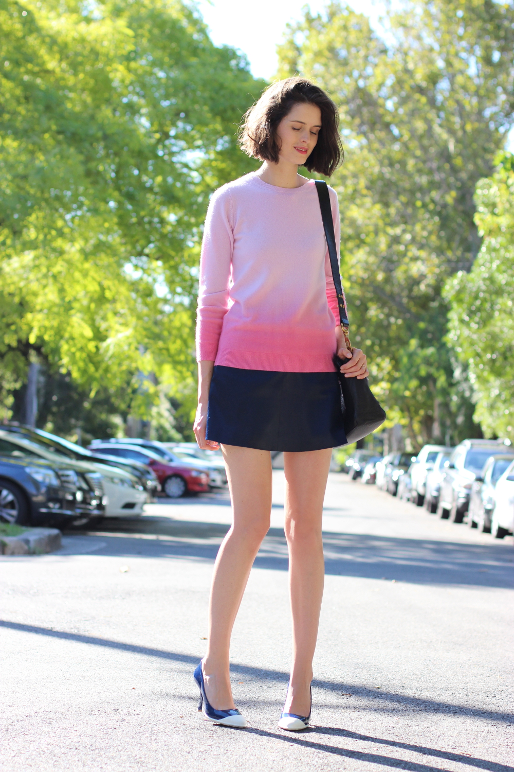 BYCHILL BLOG Boden clothing pink ombre cashmere jumper, antipodium london navy mini skirt and miu miu blue heels