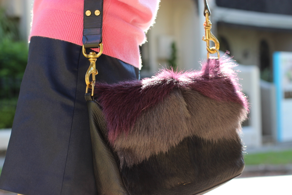 BYCHILL Deadly Ponies furry purple leather bag