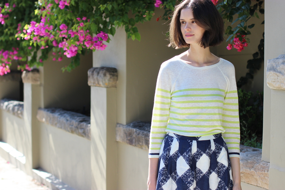 BYCHILL BLOG | Boden clothing breton striped top and criss cross print skirt