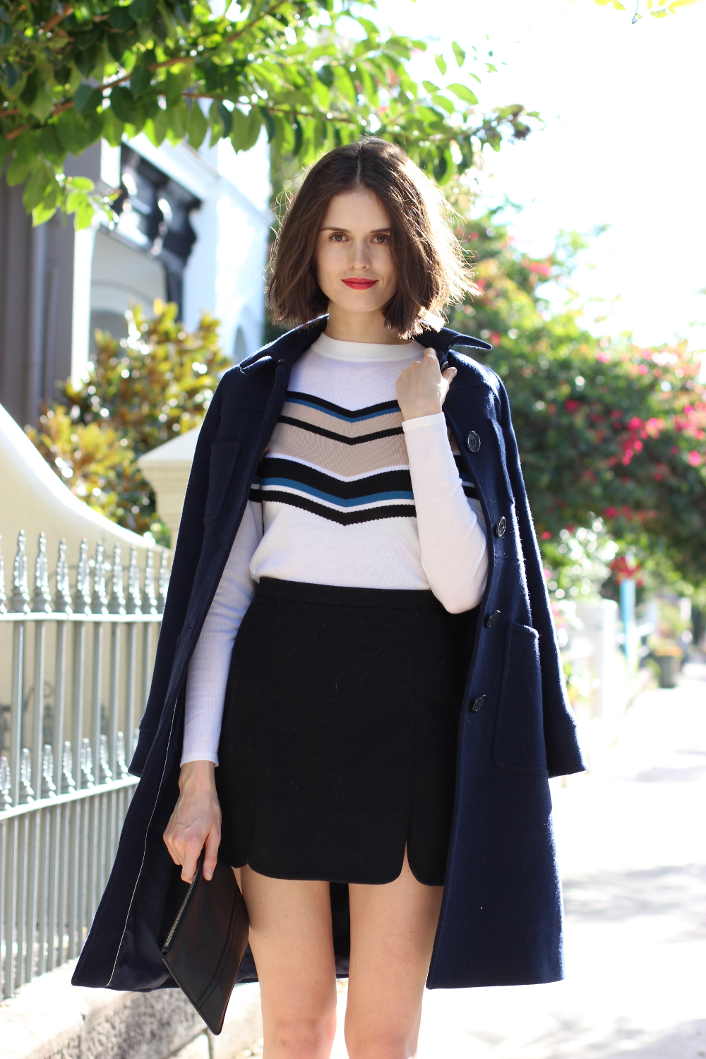 BY CHILL FASHION | Chloe Hill wearing Boden Clothing wool coat, Cue striped sweater, opening ceremony mini skirt and Oroton monogramed purse
