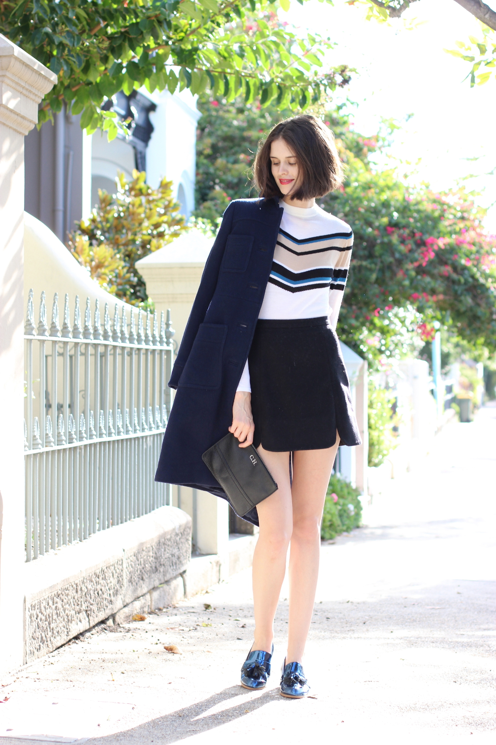 BYCHILL FASHION | Chloe Hill wearing Boden Clothing navy coat, Cue striped sweater, opening ceremony mini skirt and extraordinary ordinary day metallic shoes
