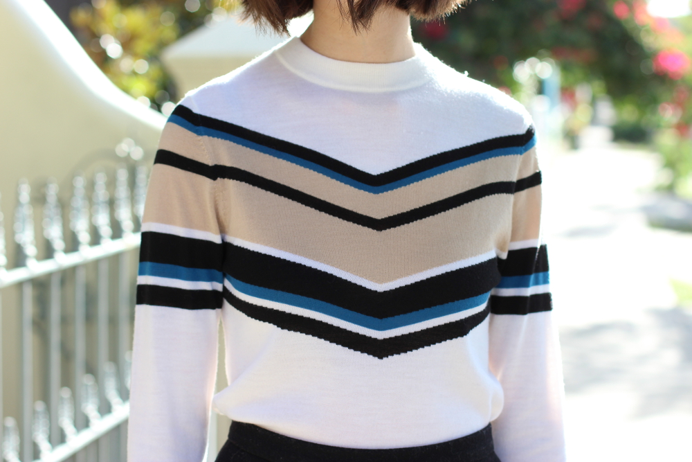 BYCHILL FASHION | Cue Clothing Chevron Stripe Fine Knit in blue and white