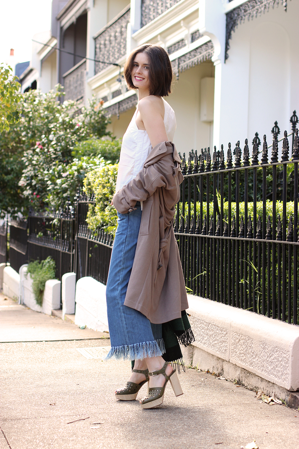 CHLOE HILL | Vale frayed denim culottes and YB J'aime one shoulder top on the streets of Sydney